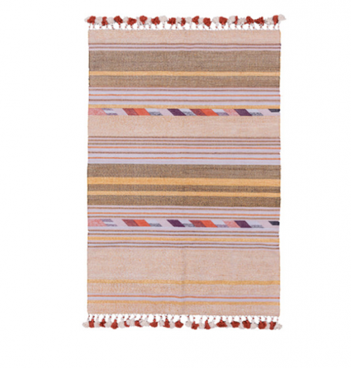 Pink and Gold Woven Stripe Rug