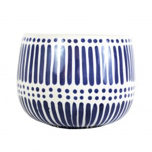 Blue Stripe and Dot Pot Large