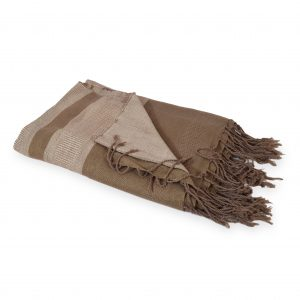 Off White/ Mocha Jaccard Linen Throw