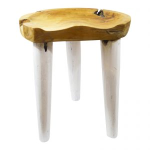 Natural + Walnut Scoop Stool