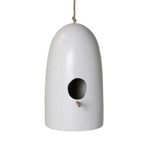 Tall White Ceramic Birdhouse