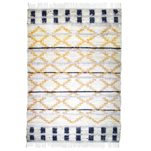 Black and White Tufted Rug with Gold Glitter