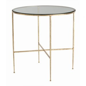 Gold Side Table w/ Glass Top