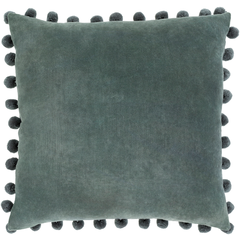 Blue Charcoal Cotton Velvet Pom Pom Pillow with Insert
