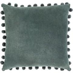 Blue Charcoal Cotton Velvet Pom Pom Pillow with Insert