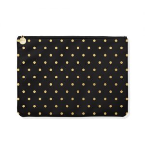 Gold Polka dot + Black Large Pouch