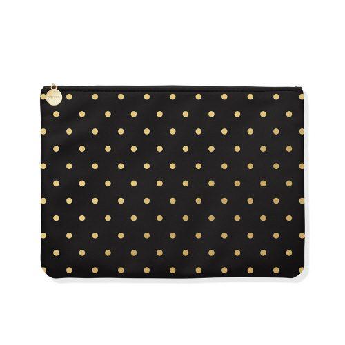 Gold Polka dot + Black Large Pouch