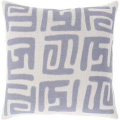 Light Periwinkle Kuba Cloth Pillow w/ Insert