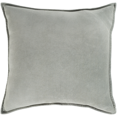 Light Grey Cotton Velvet Pillow w/ Insert
