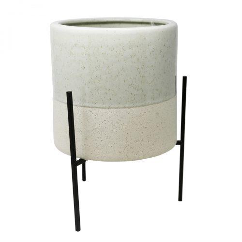 Ceramic Planter w/ Metal Base
