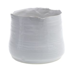 Ribbed White Ceramic Pot Large