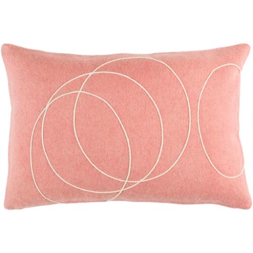 Cream Circles on Pink Lumbar Pillow w/ Insert