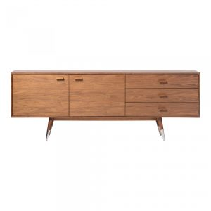 Wood Credenza with Silver Foot Cap