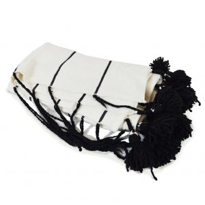 Black & White Throw w/ Black Pom-poms
