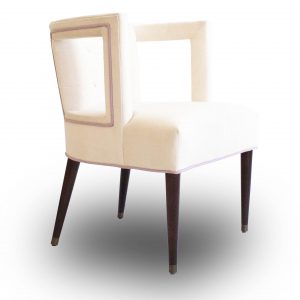Set of 2 Mr. Brown Chairs with Purple Piping